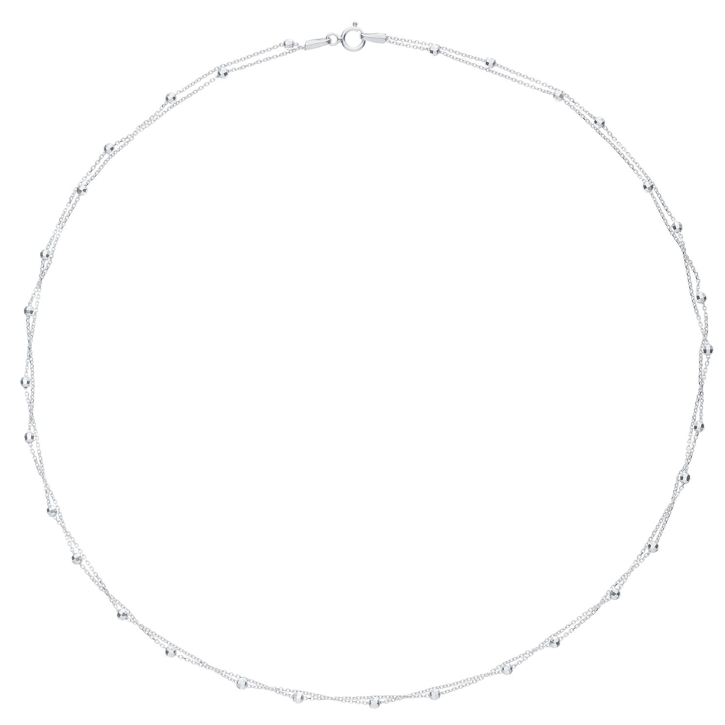 9ct White Gold Layered Stationed Necklace - Product number 6383068