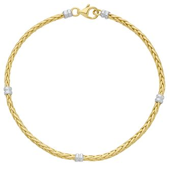 9ct Yellow & White Gold Stationed Spiga Bracelet - Product number 6383289