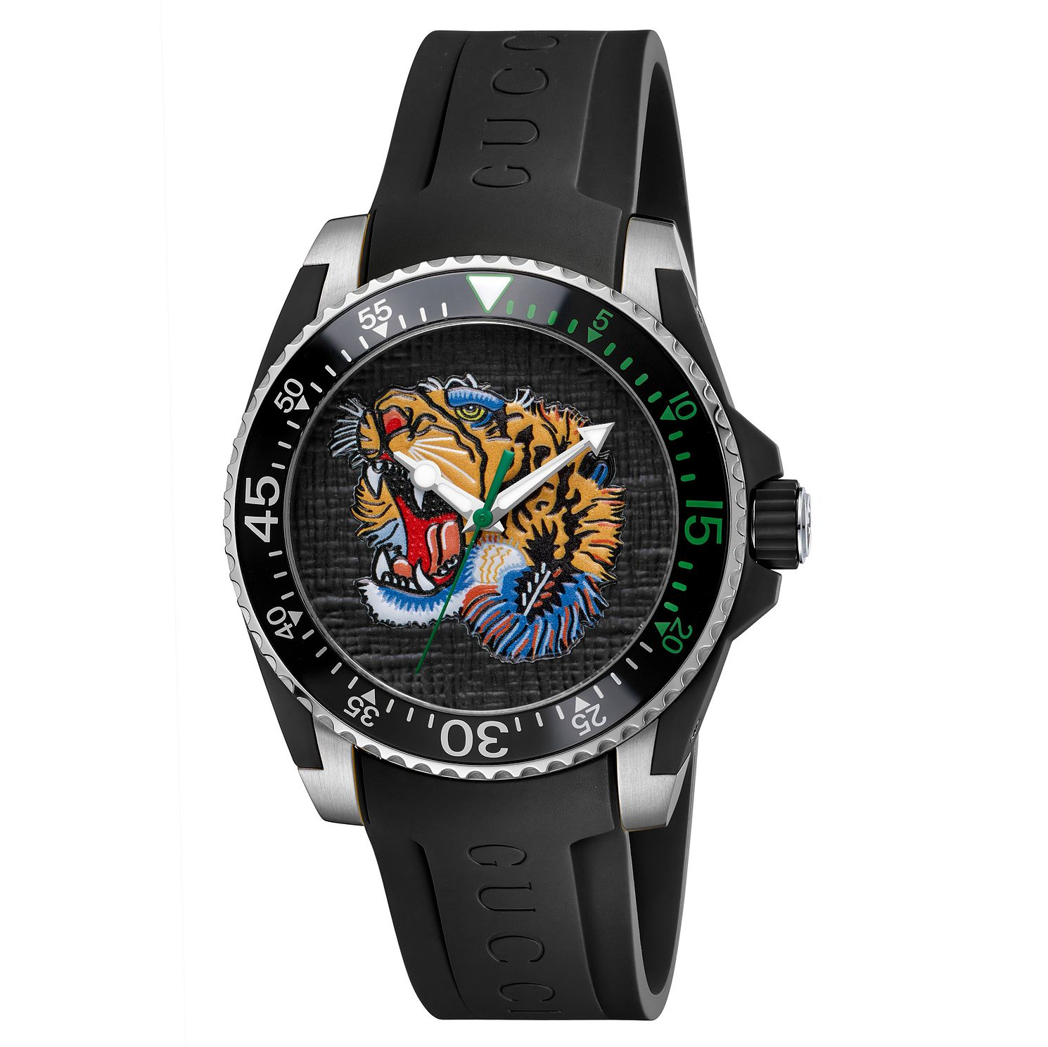 Gucci Dive Tiger Black Rubber Strap Watch - Product number 6383408