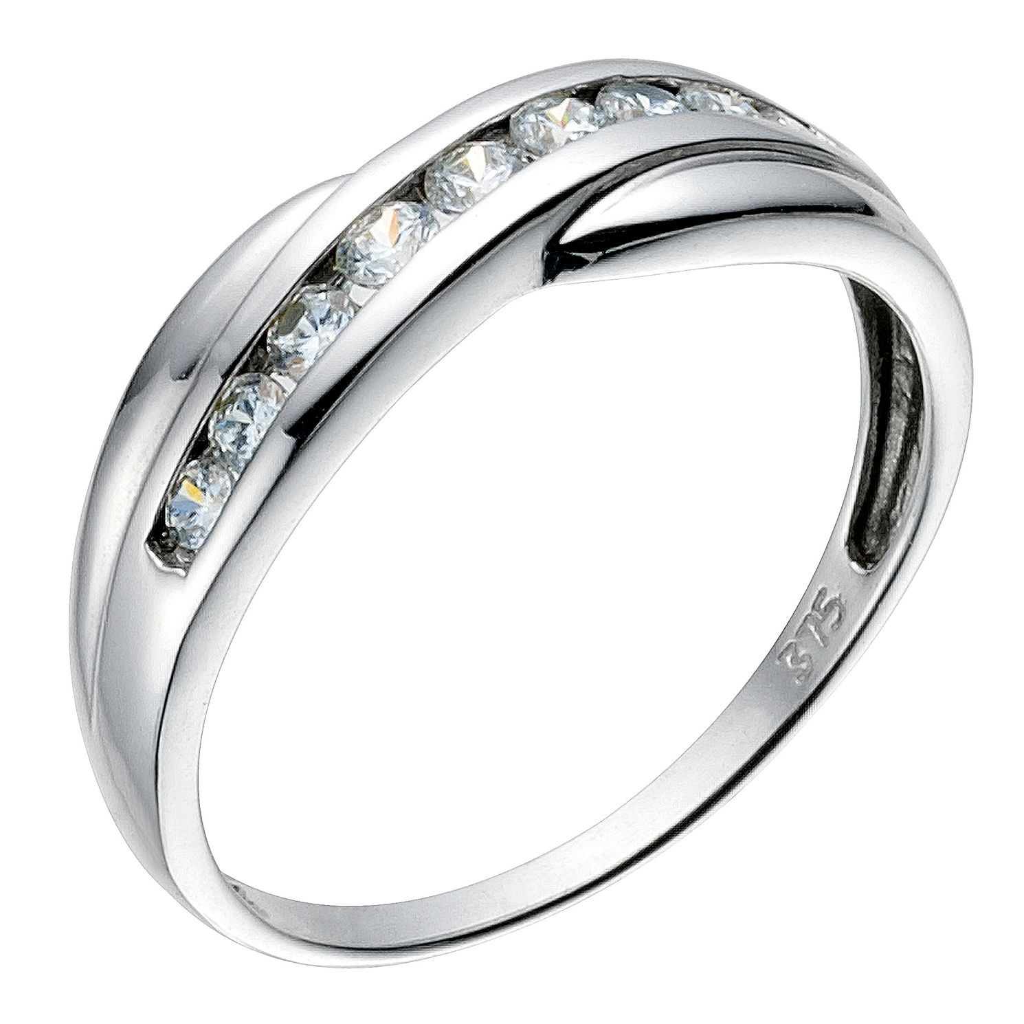 This is a picture of 44ct white gold cubic zirconia cross over eternity ring