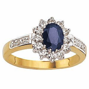 9ct Gold Sapphire & Cubic Zirconia Ring - Product number 6393934