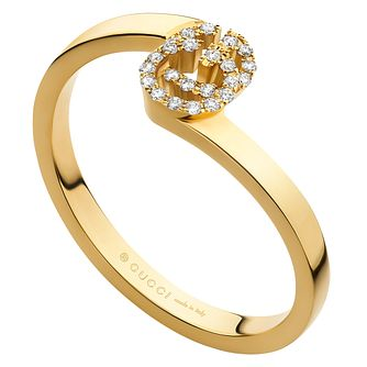 Gucci Running G 18ct Yellow Gold Diamond Ring Size M - Product number 6395783