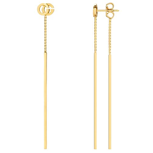 47f74c6b334 Gucci 18ct Yellow gold Logo Drop Earrings YBD48168300100U - Ernest Jones