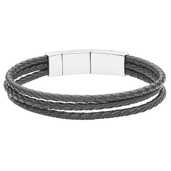 Fossil Men's Black Leather Bracelet - Product number 6415024