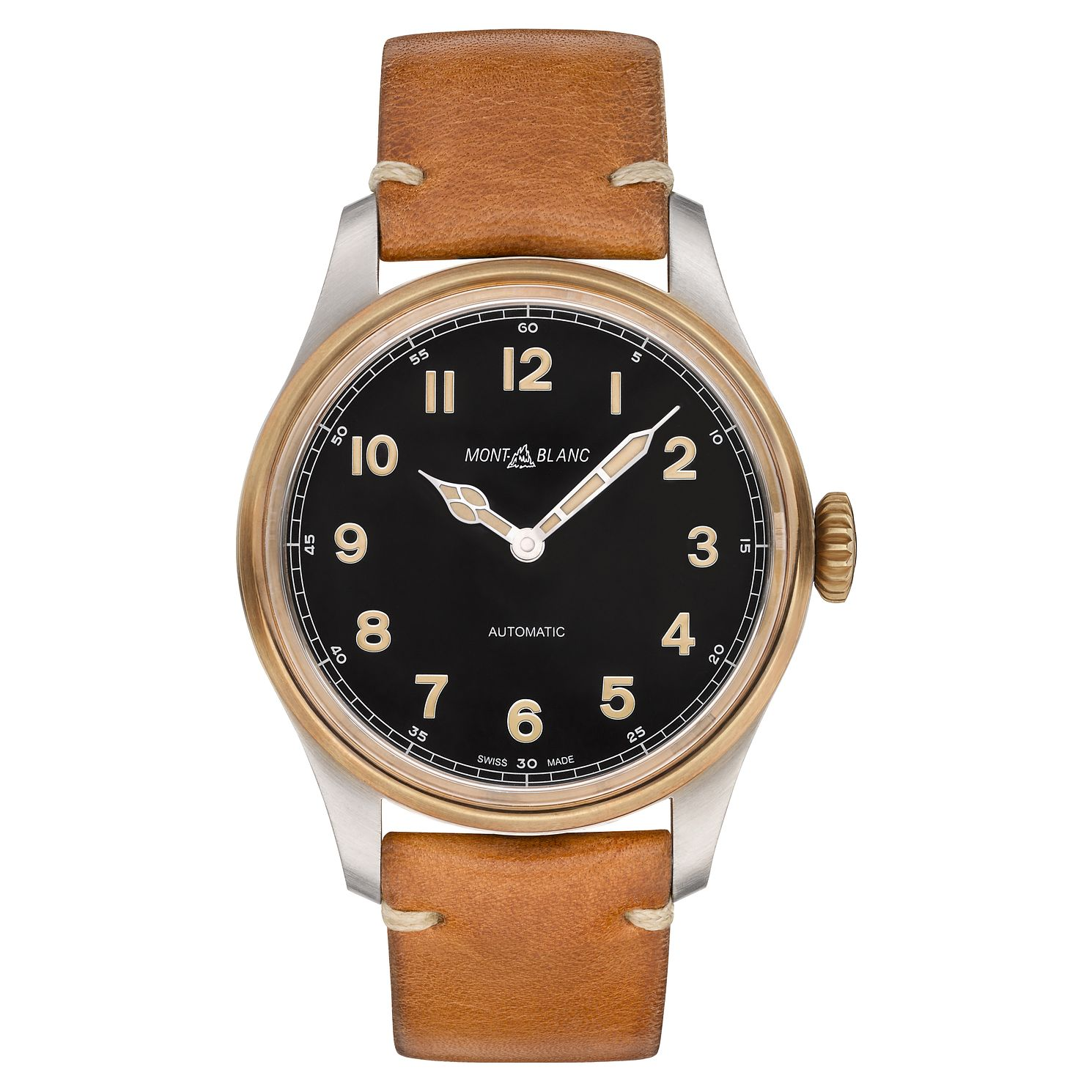 Montblanc 1858 Automatic Men's Tan Leather Strap Watch - Product number 6415652