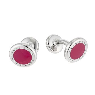 BOSS Men's Round Red Brass Cufflinks - Product number 6420257