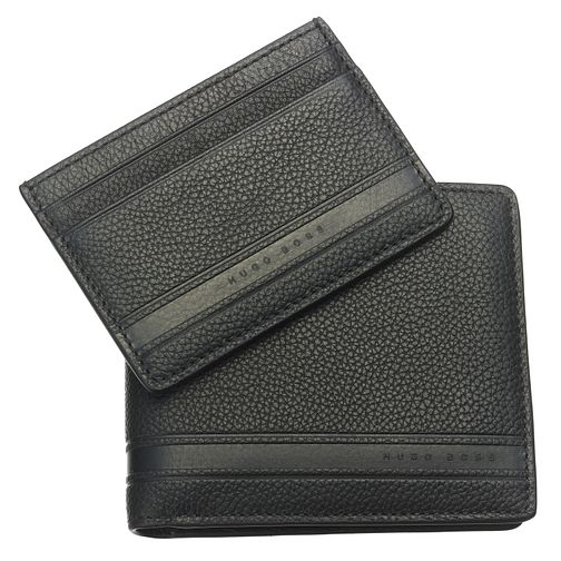 BOSS Men's Black Leather Wallet & Card Holder Gift Set - Product number 6420370