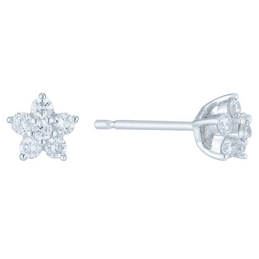 9ct White Gold 1/4ct Diamond Flower Earrings - Product number 6420508