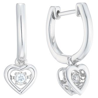 Diamonds In Rhythm Silver Diamond Heart Drop Earrings - Product number 6420591
