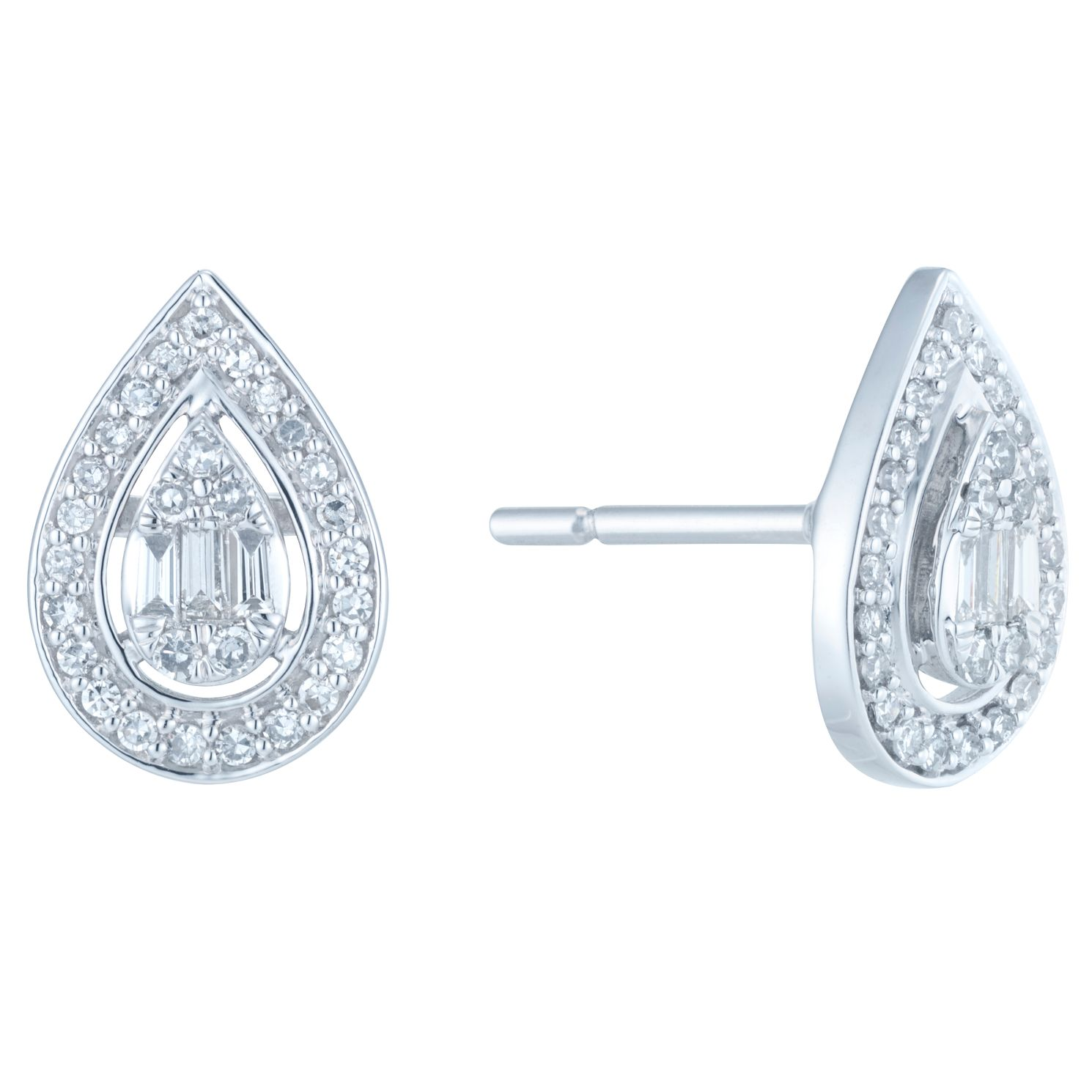 9ct White Gold 0.30ct Total Diamond Earrings - Product number 6420605