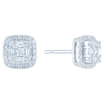 9ct White Gold 0.33ct Total Diamond Earrings - Product number 6420656