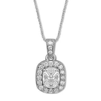 18ct White Gold 0.40ct Diamond Cushion Pendant - Product number 6420699