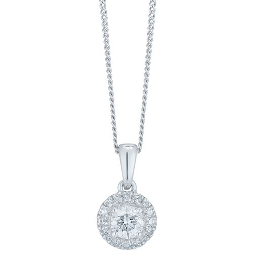 9ct White Gold 1/3ct Diamond Halo Pendant - Product number 6420753