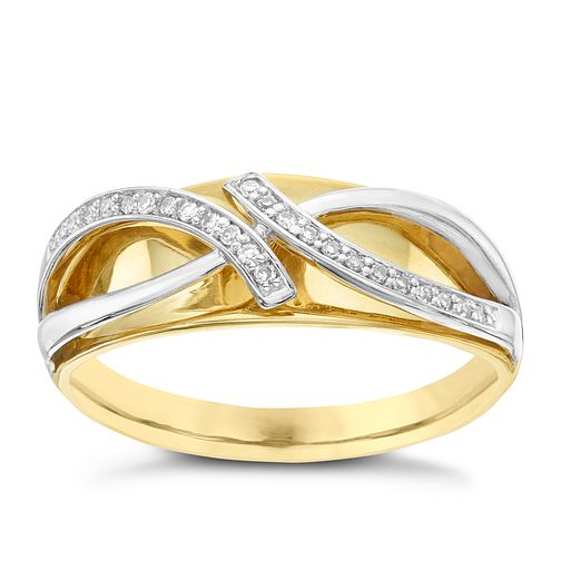 9ct Yellow & White Gold Diamond Ring - Product number 6421024