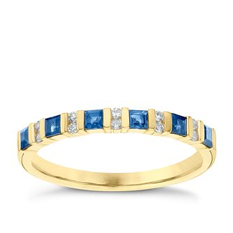 9ct Yellow Gold Diamond & Sapphire Eternity Ring - Product number 6422322