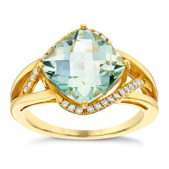 9ct Yellow Gold 0.10ct Diamond &  Green Quartz Ring - Product number 6422594