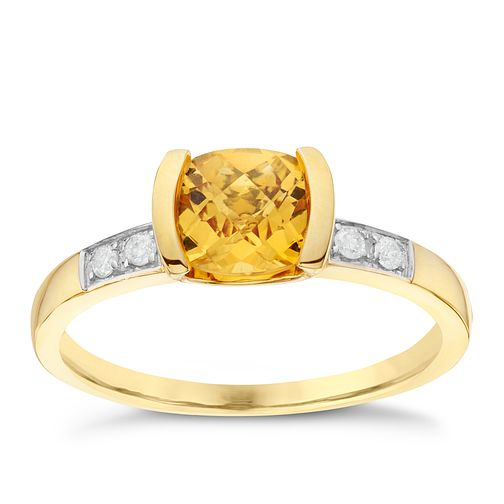 9ct Yellow Gold Diamond & Citrine Ring - Product number 6422756