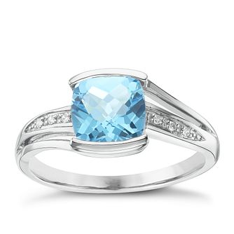 9ct White Gold Blue Topaz & Diamond Ring - Product number 6422888