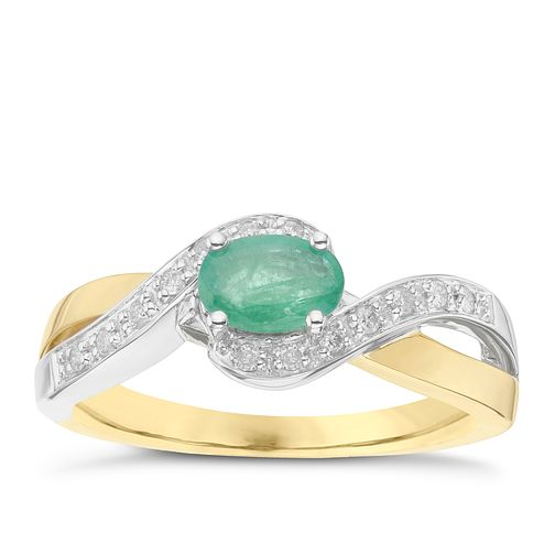 9ct Yellow & White Gold Diamond & Emerald Ring - Product number 6423019