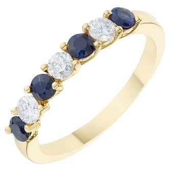 18ct Yellow Gold 0.30ct Diamond & Sapphire Eternity Ring - Product number 6423272