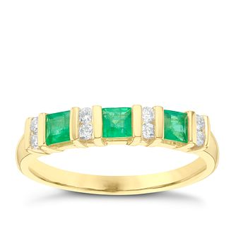 9ct Yellow Gold Diamond & Emerald Eternity Ring - Product number 6423841