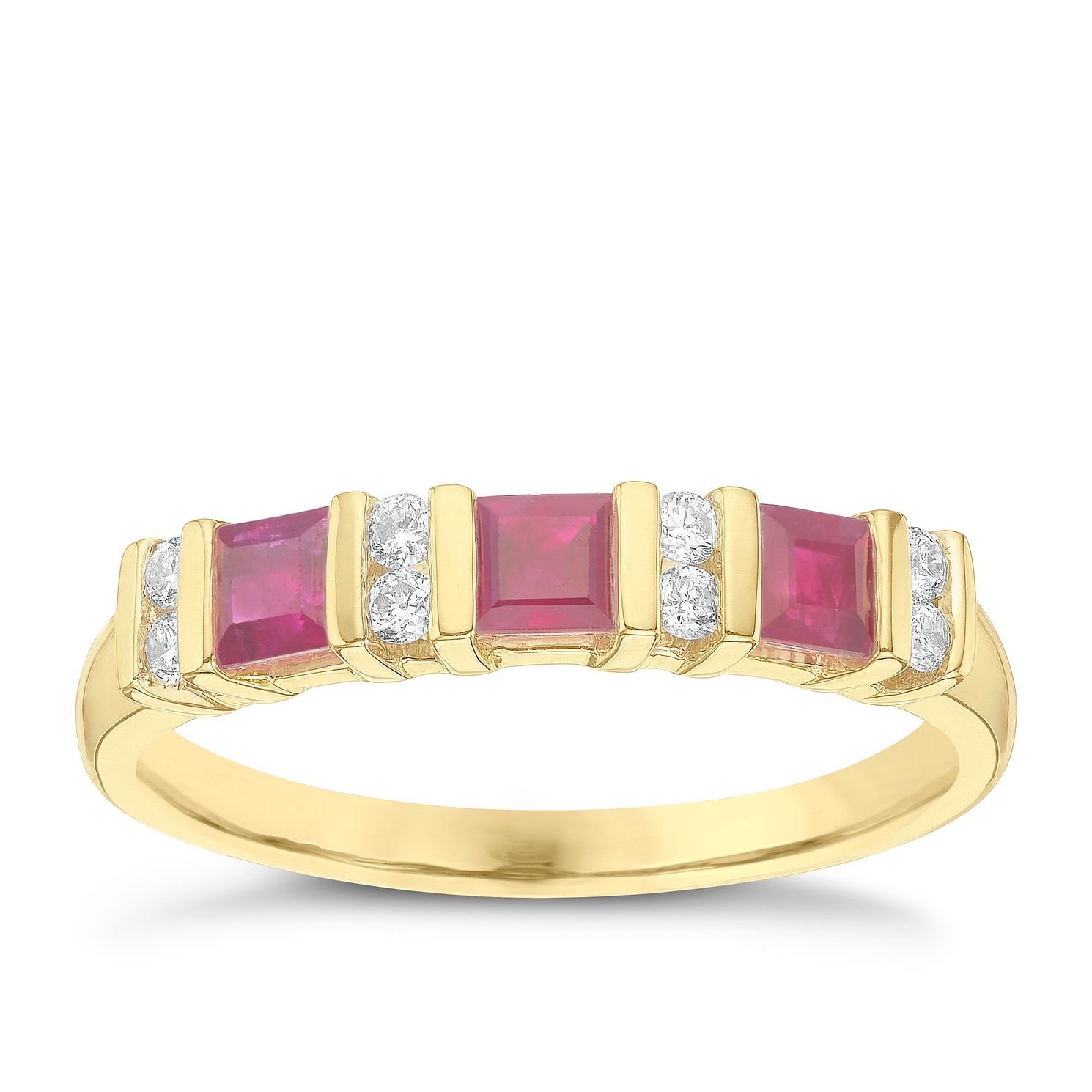 9ct Yellow Gold Ruby & 0.12ct Diamond Ring - Product number 6423973