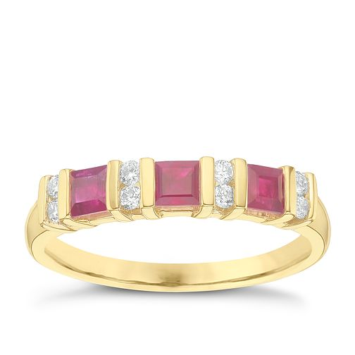 9ct Yellow Gold Diamond & Ruby Eternity Ring - Product number 6423973