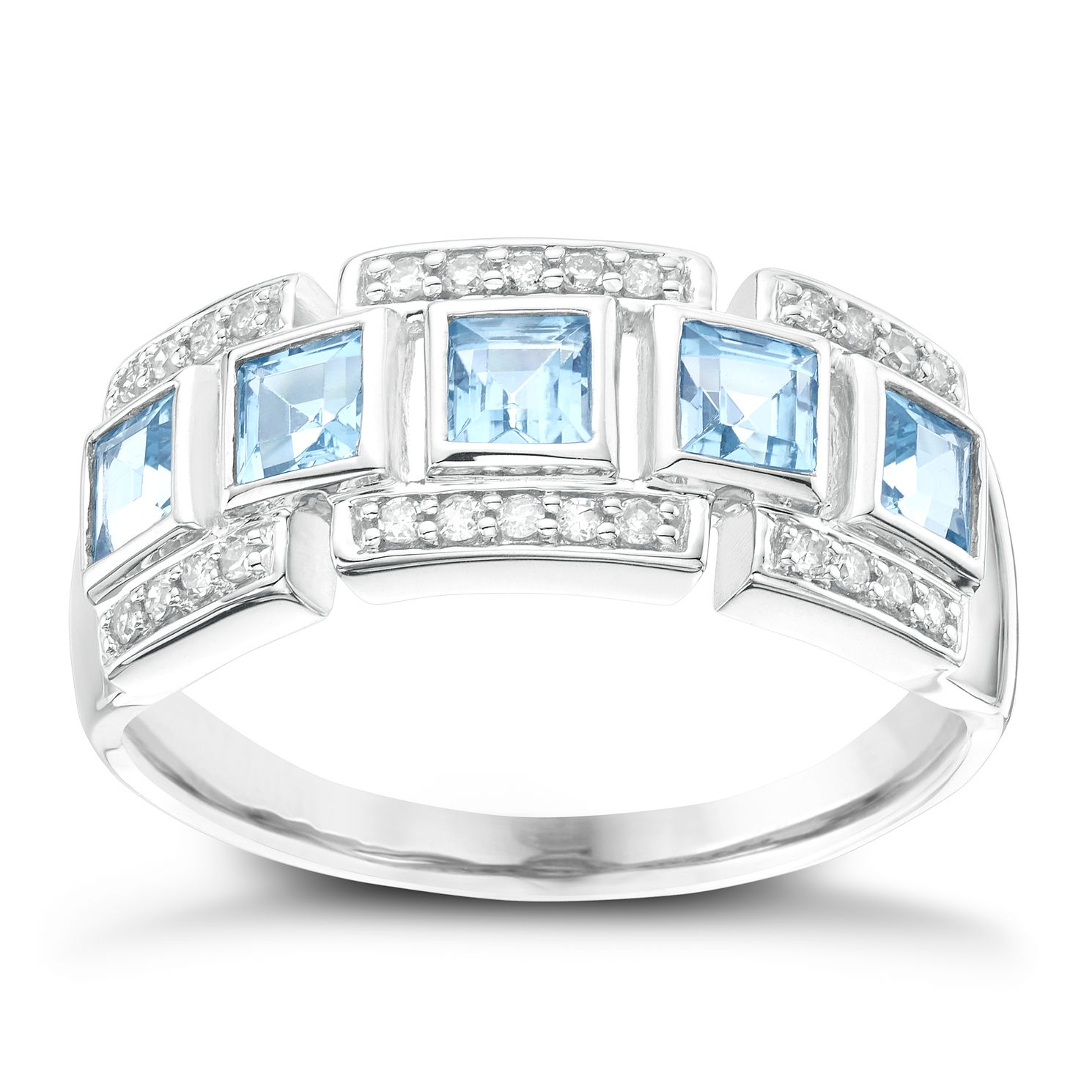 9ct White Gold Blue Topaz & 0.10ct Diamond Eternity Ring - Product number 6424252