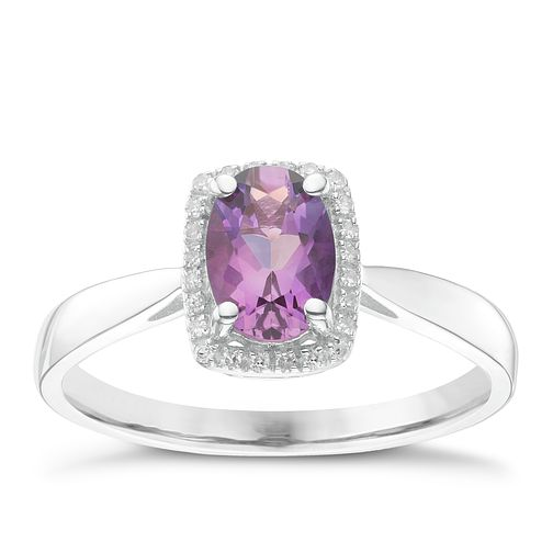 9ct White Gold Diamond & Amethyst Ring - Product number 6424538