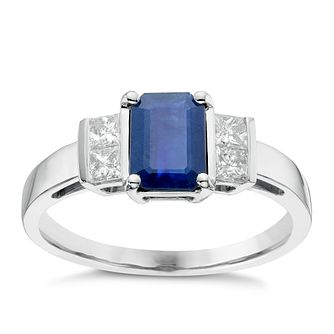 18ct White Gold Sapphire & 0.26ct Diamond Ring - Product number 6424651