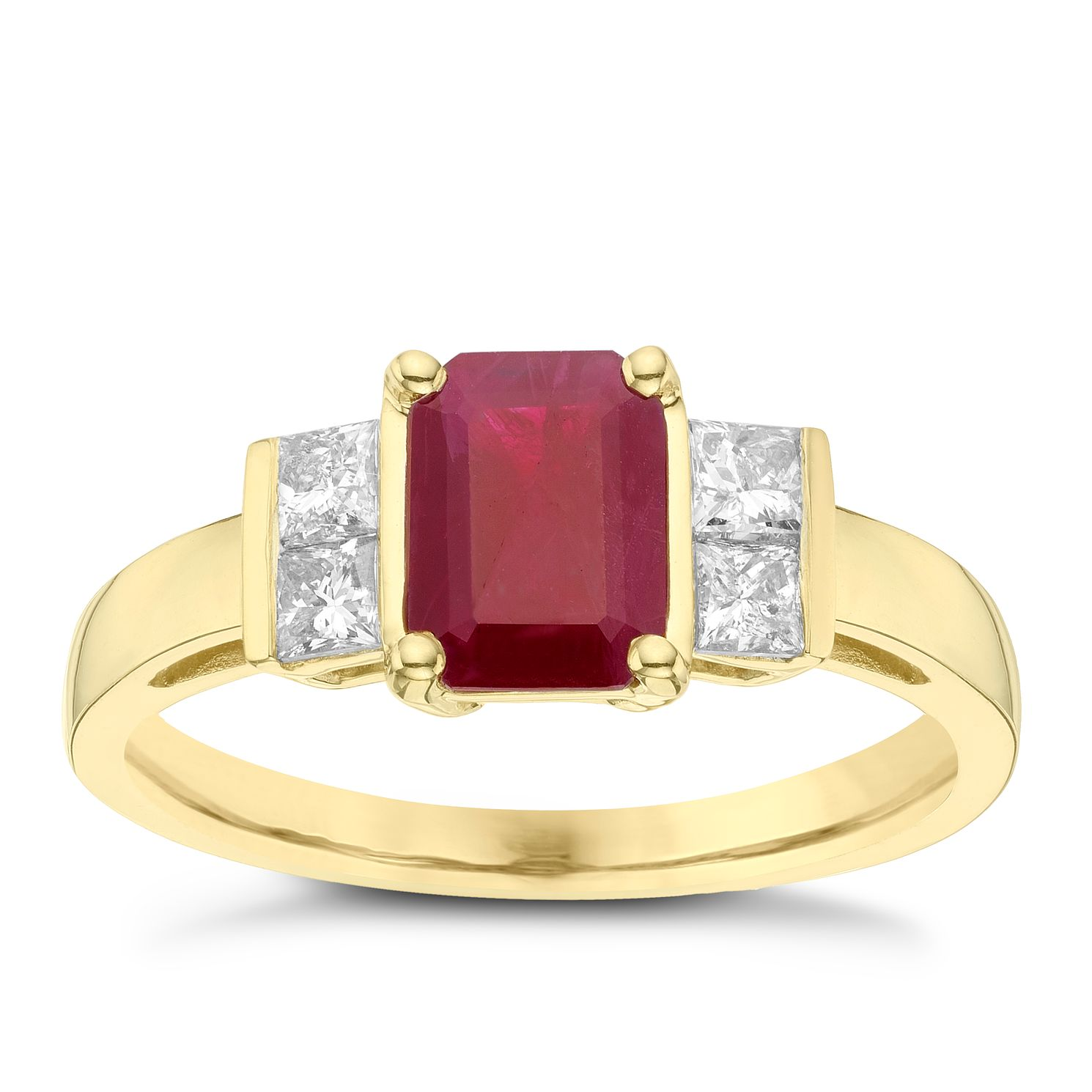 18ct Yellow Gold Ruby & 0.26ct Diamond Ring - Product number 6424783
