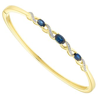 9ct Yellow Gold Diamond & Sapphire Bangle - Product number 6425054