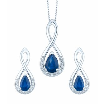 9ct White Gold Sapphire & Diamond Earring & Pendant Set - Product number 6425062