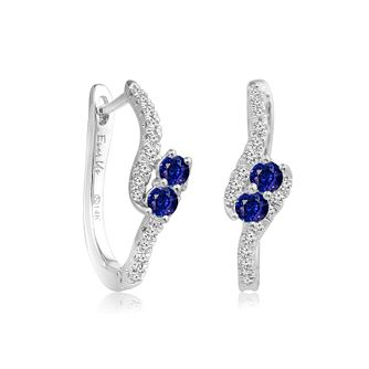 Ever Us 14ct White Gold Diamond and Sapphire Earrings - Product number 6425070