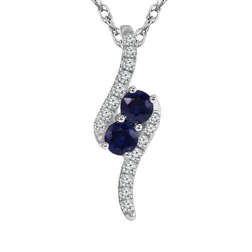 Ever Us 14ct White Gold Diamond and Sapphire Pendant - Product number 6425097