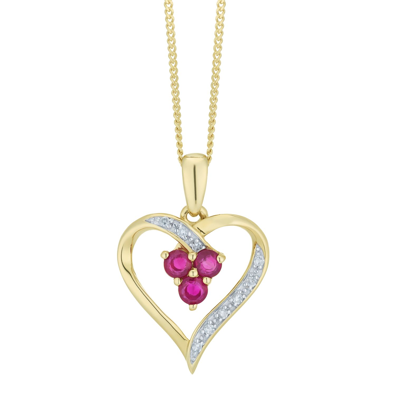 9ct Yellow Gold Diamond & Ruby Heart Pendant - Product number 6425119