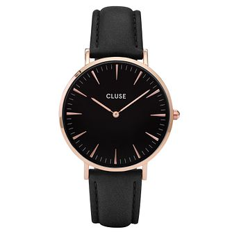 Cluse Ladies' La Bohème Black Leather Strap Watch - Product number 6426875