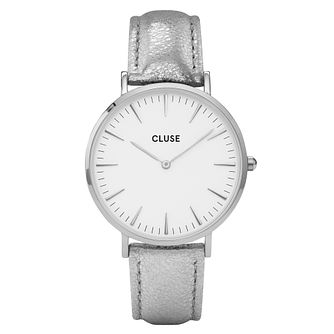 Cluse Ladies' La Bohème Silver Leather Strap Watch - Product number 6427030