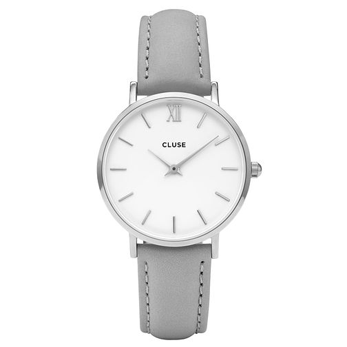 Cluse Ladies' Minuit Grey Leather Strap Watch - Product number 6427111