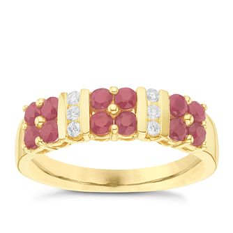 9ct Yellow Gold Diamond & Ruby Ring - Product number 6427383