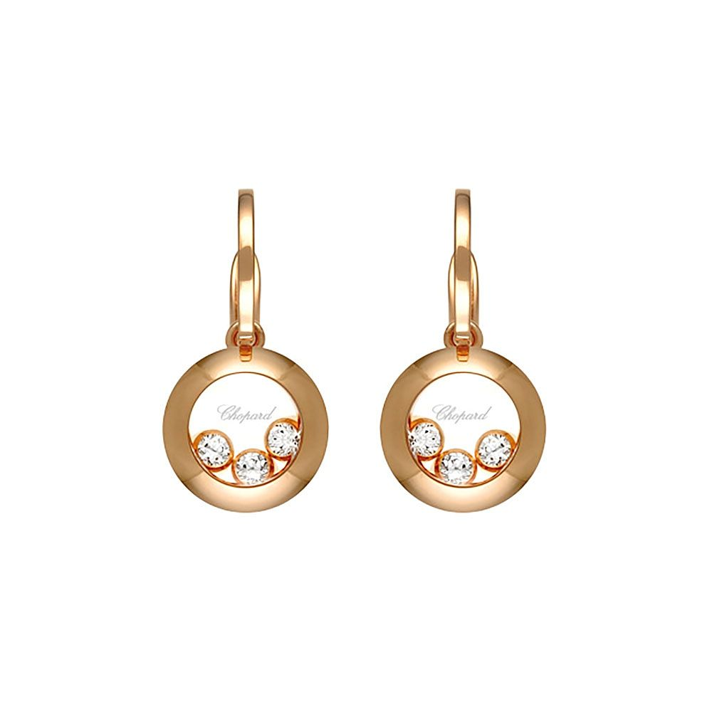 Chopard Happy Diamonds 18ct Rose Gold Diamond Drop Earrings - Product number 6432700
