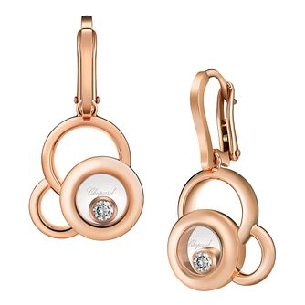Chopard Happy Diamonds 18ct Rose Gold Diamond Drop Earrings - Product number 6432727