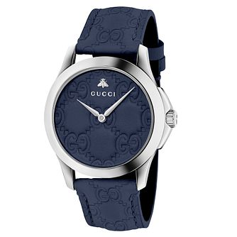 Gucci G-Timeless Men's Blue Leather Strap Watch - Product number 6433014