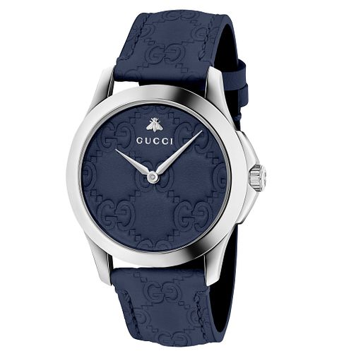 Gucci G-Timeless Blue Leather Strap Watch - Product number 6433014