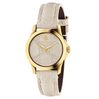 Gucci G-Timeless Ladies' Cream Leather Strap Watch - Product number 6433030