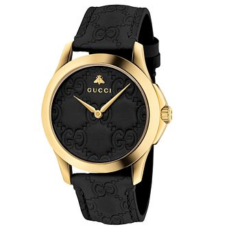 Gucci G-Timeless Ladies' Black Leather Strap Watch - Product number 6433049