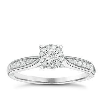 9ct White Gold 0.15ct Diamond Illusion Set Halo Cluster Ring - Product number 6434304