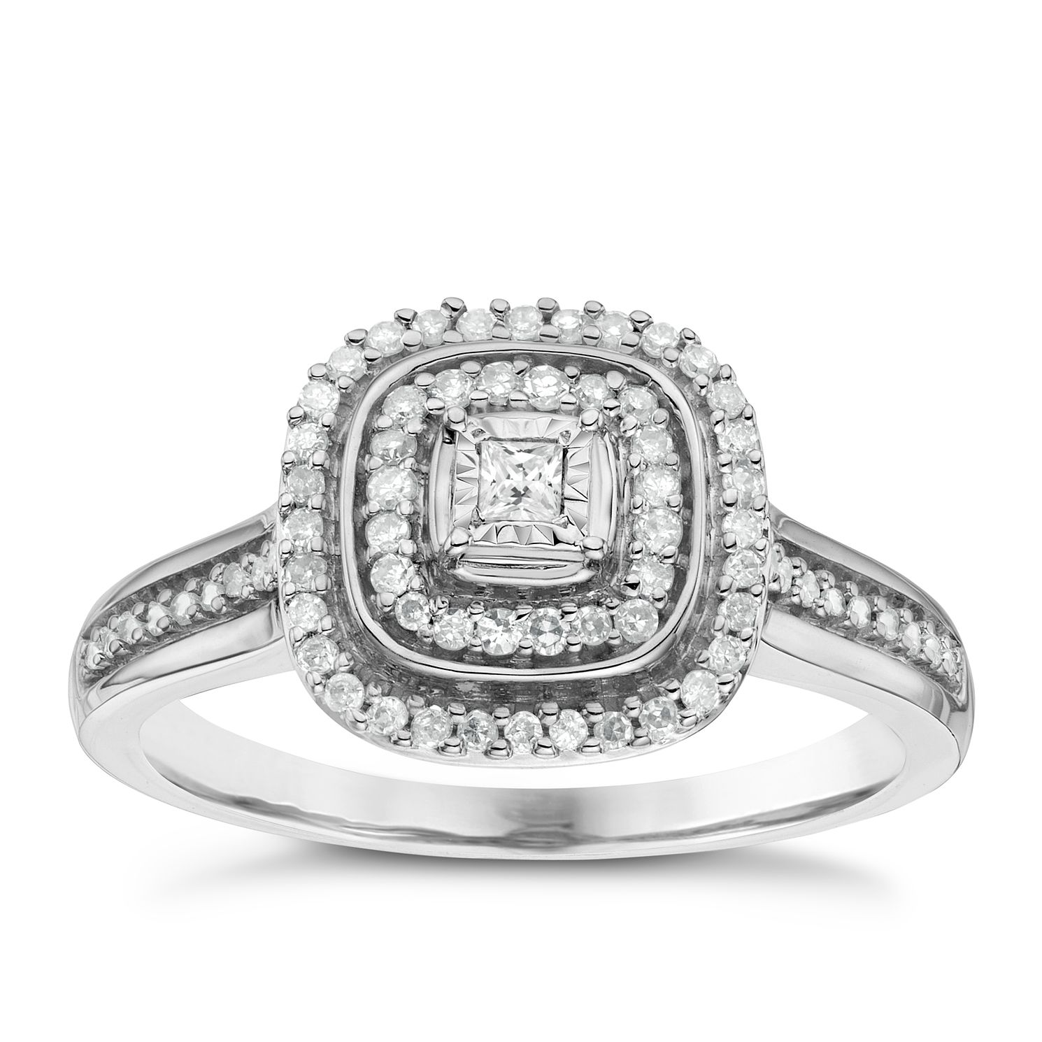 9ct White Gold 0.20ct Total Diamond Cushion Set Cluster Ring - Product number 6434681
