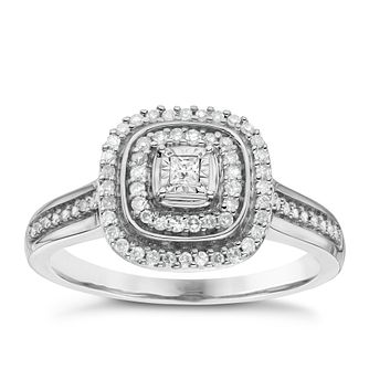 9ct White Gold 1/5ct Cushion Set Diamond Cluster Ring - Product number 6434681