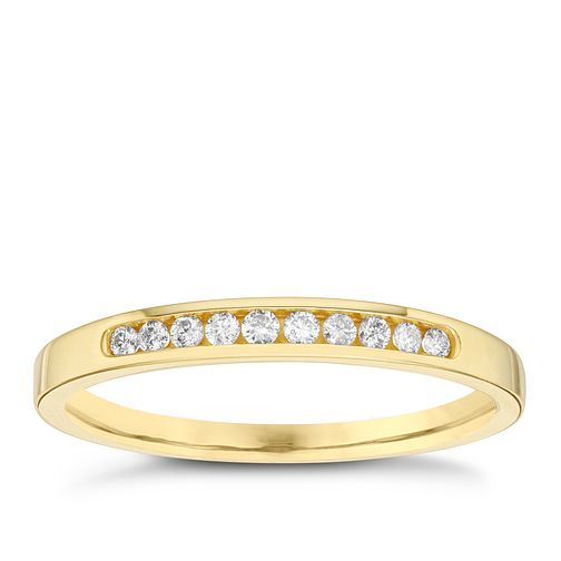 18ct Yellow Gold 1/10ct Diamond 10 Stone Eternity Ring - Product number 6434835